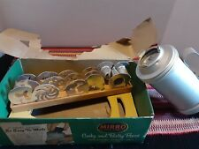 VINTAGE MIRRO ALUMINUM SPRITZ COOKY PRESS MADE IN USA WITH 12 DISCS & HOLDER
