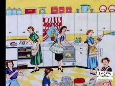 RPFMM95 RARE Retro Kitchen Atomic Cooking Cleaning Domestic Cotton Quilt Fabric