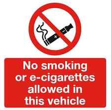No smoking or E-cig vehicle sign 100x100mm self-adhesive (CIG1E) Free P&P