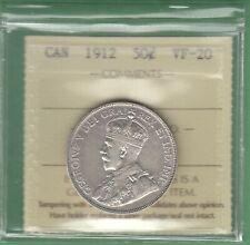 1912 Canadian 50 Cents Silver Coin - ICCS Graded VF-20