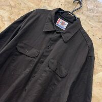 "Vintage Dickies Brown Short Sleeved Canvas Workwear ""A Legend In Work"" Shirt XL"