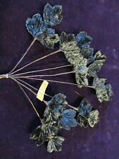 "Vintage Millinery Flower 1"" Leaf Dk Blue Velvet 8x3p lot Hat Wedding + Hair Y259"