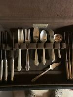GORHAM HUNT CLUB STERLING SILVER FLATWARE SET FOR 6 WITH SERVERS NO MONO'S