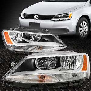 FOR 11-18 VOLKSWAGEN VW JETTA SEDAN CHROME HOUSING AMBER CORNER HEADLIGHT LAMPS