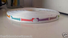 """2 yards - 10mm (3/8"""") wide COLOURED DACHSHUNDS DOG PRINTED GROSGRAIN RIBBON"""