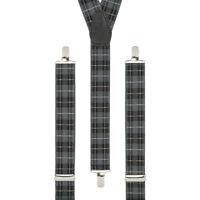 Tartan Grey Black White Clip On Trouser Braces Elastic Suspenders Handmade UK
