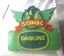 SEGA SONIC THE HEDGEHOG DANONE LOGO ENAMEL PIN BADGE! OFFICIAL 1991 PROMO! NEW!