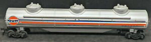 TYCO: GULF OSKX #829. 3-DOME TANK CAR. STRIPED. Vintage. HO Scale.