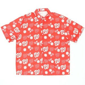 "Washington Nationals Men Large 50"" Hawaiian Shirt Red Tropical Baseball Red"
