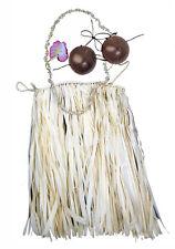 Hawaiian Hula Grass Skirt Set Real Raffia Coconut Bra Lei Hair Flower Large Nat