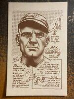 "Max Carey Dodgers 1977-81 Bob Parker HOF Series III 3.5"" x 5.5"" Card"