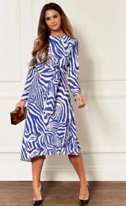 Womens Ladies Midi Dress In Blue Zebra  Animal Print John Zack