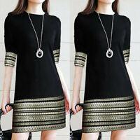 Womens Stripe Printed Vintage T-Shirt Dress Middle Sleeve Tunic Longline Top UK