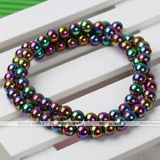 6mm Rainbow Magnetic Hematite Round Ball Loose Bead Fit Charm Bracelet Necklace