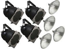 4 x Noir Par 56 300 W Par Can Stage Theatre School Bande Éclairage Lanterne + Lampe