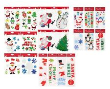 Christmas Santa Glass Gel Window Stickers Colored Elves,Reindeer Kids Room Decor
