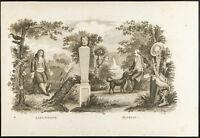 1825 - Incisione Antica Jean Di La Fontana & Florian - Ritratto Favola
