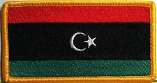 LIBYA Flag Military Patch With VELCRO® Brand Fastener Gold Emblem #811