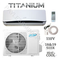 9,000 BTU Ductless Mini Split AirCon Conditioner Heat Pump 19 SEER 115V  3/4 Ton