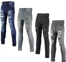 Mens Skinny Jeans Super Stretch DISTRESSED Cutaway Extreme Frayed Rip Denim