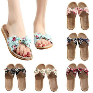 Women Slippers Summer Indoor Sandals Bowknot Slip On Flax Slides Flat Cool Shoes