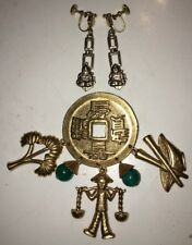 Vintage Gold Gemstone Chinese Symbols Coin Brooch Pin Signed & Buddha Earrings