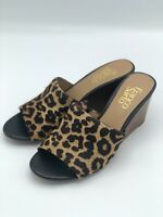 Franco Sarto McKenna Leopard Pony Calf Hair Wedge Mule Slide Sandal 6.5