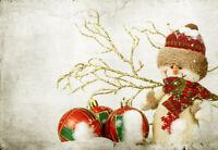 Vintage Christmas Baubles and Snowman Backdrop 7x5ft Vinyl Photo Background LB