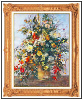 H Claude Pissarro Original Pastel Painting Floral Still Life Signed Framed Art