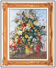 H Claude Pissarro Original Pastel Painting Floral Still Life Signed Framed Art