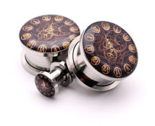 Pair of Screw on Steampunk Clock Style 1 Picture Plugs gauges 16g thru 1 inch