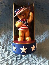 "NOS 2002 AMERICAN LIBERTY BEARS ""YANKEE DOODLE"" MUSIC BOX FIGURINE"