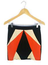 NWT BLOSSOM Skirt - Mini Retro Pencil Colour Block Splice Black Orange Cream - 8