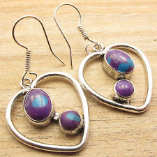 Weight 6.4 gm, Silver Plated Jewelry Purple Copper Turquoise Gem Heart Earrings