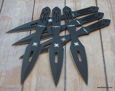 "9"" PERFECT POINT BLACK THROWING KNIVES WITH NYLON SHEATH - 6 PCS SET"