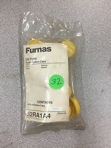 """NEW """"PACKAGE OF 20""""  FURNAS PUSH BUTTON CAPS YELLOW 52RA1A4 SERIES B"""