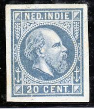 Nederlands Indië, Kleurproeven emissie 1870, ongetand, geen gom. 20 cent blauw