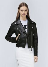 NWT $650 MACKAGE PAULA BLACK LEATHER BIKER MOTO MINIMALIST JACKET XS (0 2)