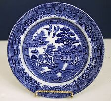 "ANTIQUE DARK BLUE WILLOW 7 1/2"" PLATE C1903 CROWN POTTERY JOHN TAMS ENGLAND"