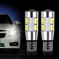2Pc T10 White Automotive 194 W5W 5630 LED 10 Car Side Wedge Durable Light Bulb