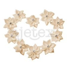 10pcs Rose Satin Ribbon Flower Appliques Rhinestones Wedding Favor Beige IF