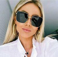 Sunglasses Women Square Metal Frame Vintage Oversized Sun Glasses