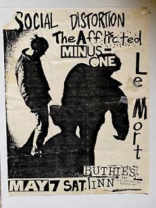 Social Distortion Original punk flyer The Afflicted, T.S.O.L, Le Mort, Minus One