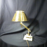 Vintage Brass Desk Lamp With Marble Base Articulating And Metal Shade