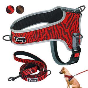 Reflective Dog Harness Leash Medium Large Dog Collars No Pull Dog Walk Vest S-XL