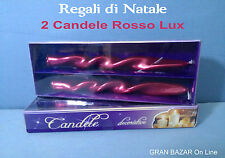 NATALE CANDELA TORCIGLIONE ROSSO Serie Lux 2 Pz. Effetto Metal