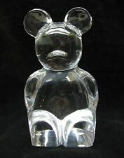 TEDDY BEAR ORREFORS Clear Glass Crystal  PAPERWEIGHT Sweden  Teddybear