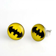 Yellow Batman symbol Stainless Steel Stud Earrings - New