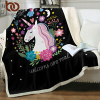Magic Cute Unicorn Super Soft Plush Sherpa Fleece Throw Blanket Sofa Bed Lap