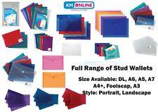 STUD WALLETS Organiser Plastic Document Wallets Press Stud Folder Filing Storage